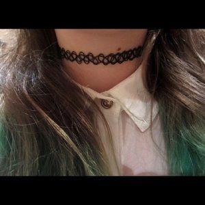 Black tattoo choker necklace